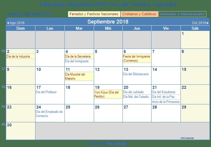 Calendario De Septiembre.Calendario Septiembre 2018 Para Imprimir Argentina