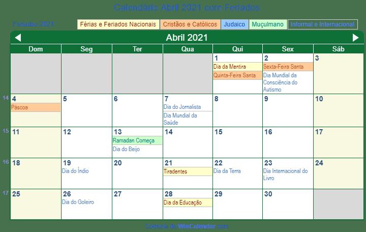 Calend U00e1rio Abril 2021 Para Imprimir Brasil
