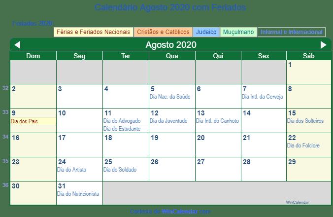 Agosto 2020 Calendario.Calendario Agosto 2020 Para Imprimir Brasil