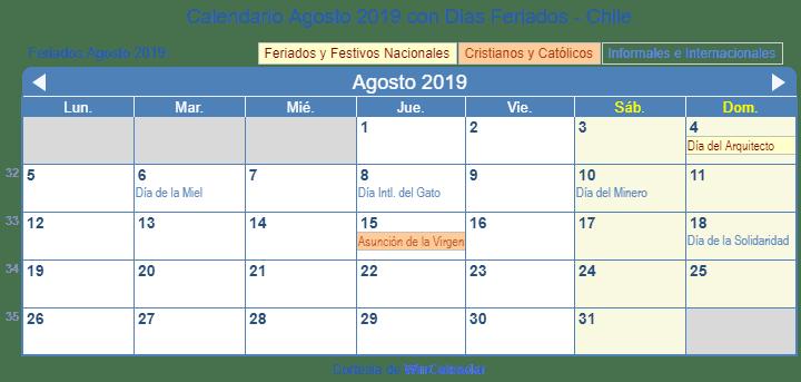 Calendario De Agosto 2019 Chile.Calendario Agosto 2019 Para Imprimir Chile