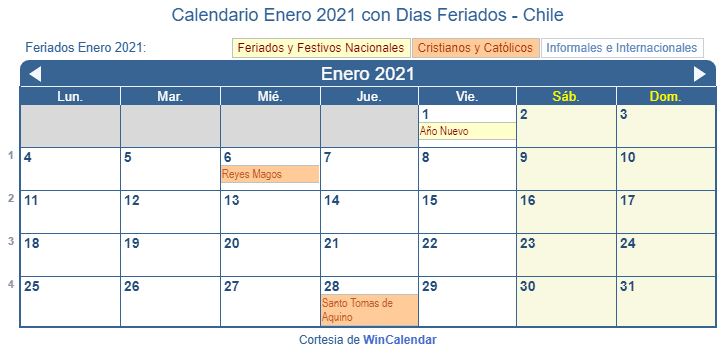 Calendario Chile 2020.Calendario Enero 2021 Para Imprimir Chile