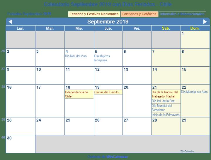 Calendario 2019 Chile Con Feriados Para Imprimir.Calendario Septiembre 2019 Para Imprimir Chile