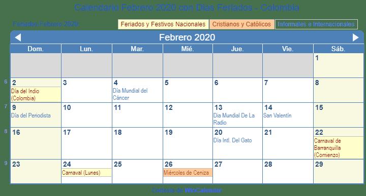 Calendario 2020 Argentina Para Imprimir Pdf.Febrero Calendario 2020