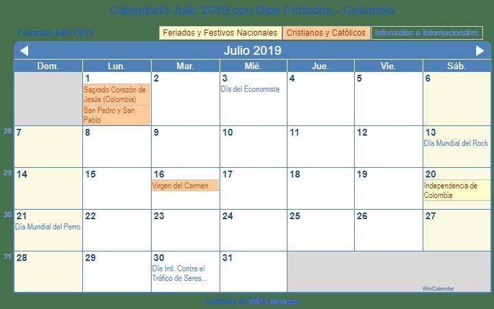 Julio Calendario.Calendario Julio 2019 Para Imprimir Colombia