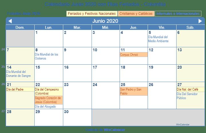 calendario junio 2020 para imprimir