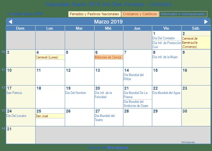 Calendario Colombia 2019 Para Imprimir.Calendario Marzo 2019 Para Imprimir Colombia