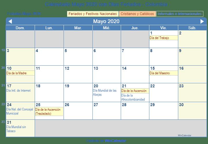 Calendario Colombia 2020 Festivos.Calendario Mayo 2020 Para Imprimir Colombia