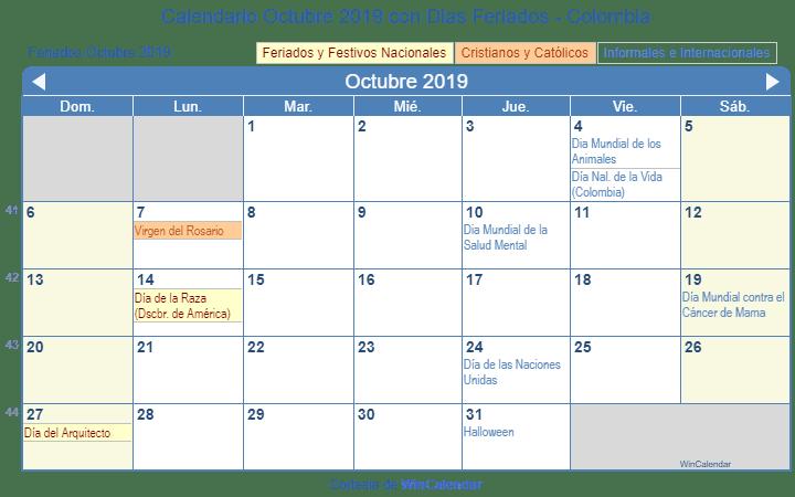 Calendario Colombia 2019 Octubre.Calendario Octubre 2019 Para Imprimir Colombia
