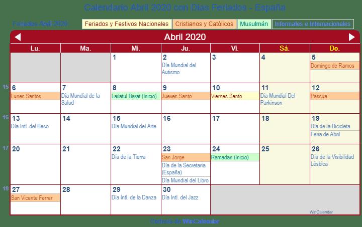 Calendario 2020 Espana Con Festivos.Calendario Abril 2020 Para Imprimir Espana