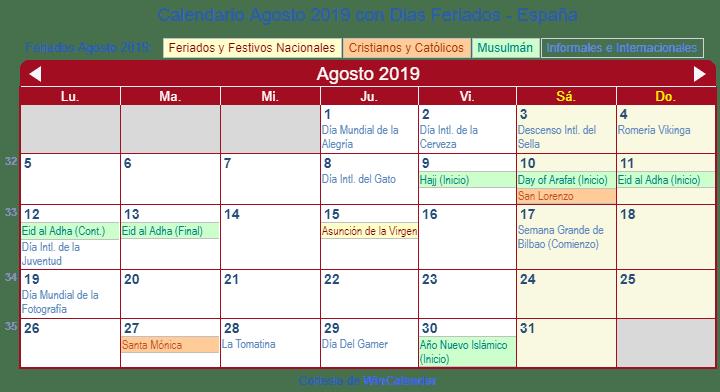 Calendario Agosto 2019 Espana.Calendario Agosto 2019 Para Imprimir Espana