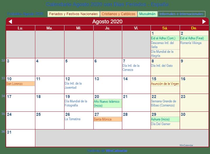 Calendario Agosto 2020 Espana.Calendario Agosto 2020 Para Imprimir Espana
