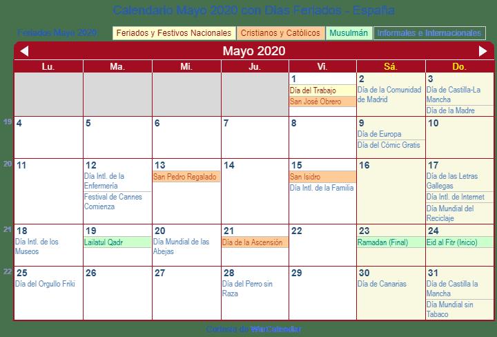 Calendario 2011 Espana.Calendario Mayo 2020 Para Imprimir Espana