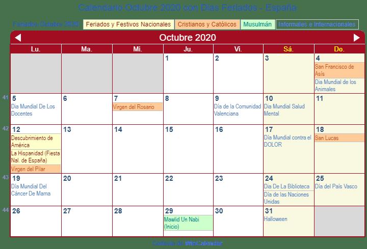 Calendario 2020 Espana Para Imprimir.Calendario 2020 Octubre