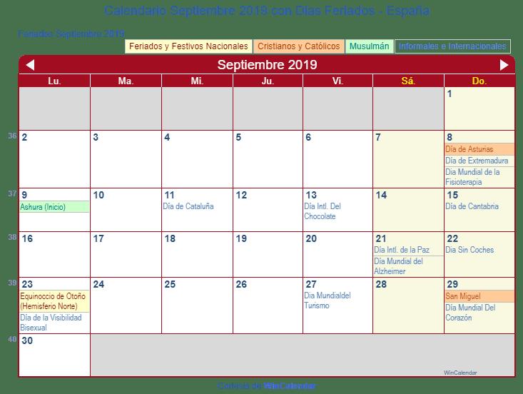 Calendario Septiembre 2019 para imprimir - España
