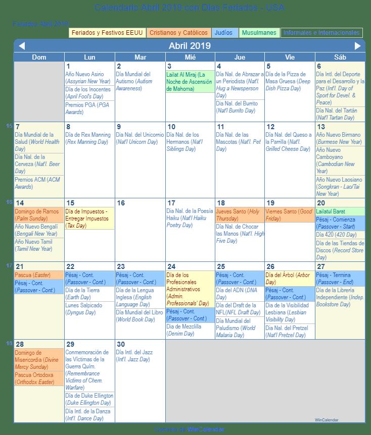 Calendario Abril 2019 Para Imprimir Estados Unidos