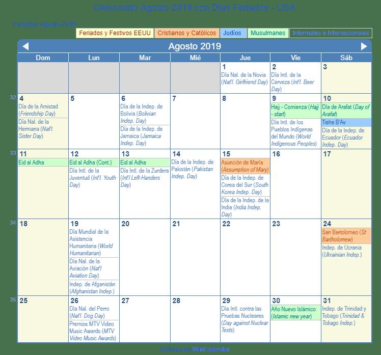 Calendario Agosto 2019 Con Feriados.Calendario Agosto 2019 Para Imprimir Estados Unidos