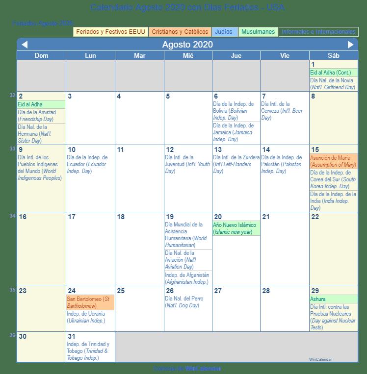 Calendario De Agosto 2020.Calendario Agosto 2020 Para Imprimir Estados Unidos