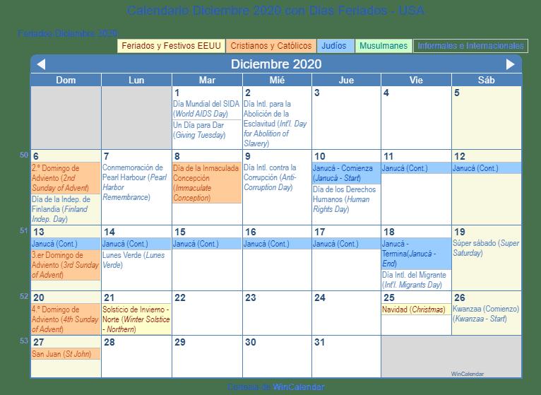 Calendario Diciembre 2020 Para Imprimir.Calendario Diciembre 2020 Para Imprimir Estados Unidos