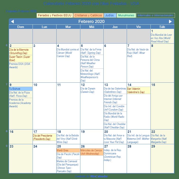 Febrero 2020 Calendario.Calendario Febrero 2020 Para Imprimir Estados Unidos