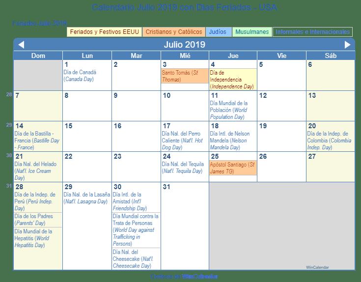 Calendario Julio 2019 para imprimir - Estados Unidos