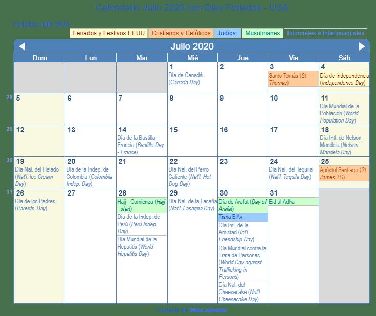 Calendario Julio 2020 Para Imprimir Estados Unidos