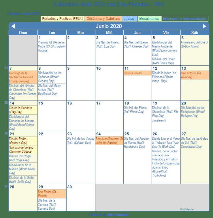 Calendario Laboral 2020 Galicia Doga.Calendario Junio 2020