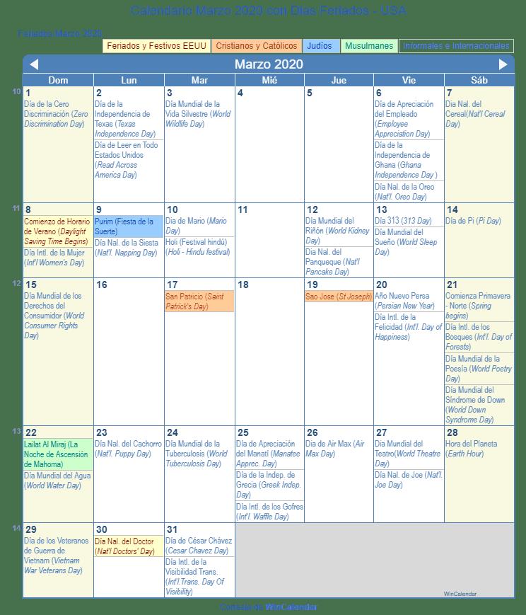 Calendario Verano 2020.Calendario Marzo 2020 Para Imprimir Estados Unidos
