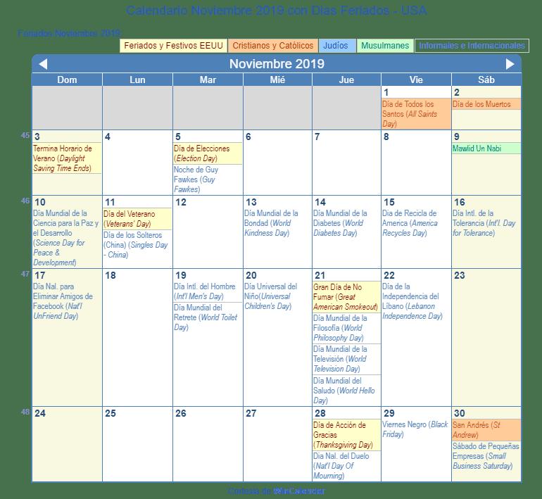 Calendario Noviembre 2019.Calendario Noviembre 2019 Para Imprimir Estados Unidos