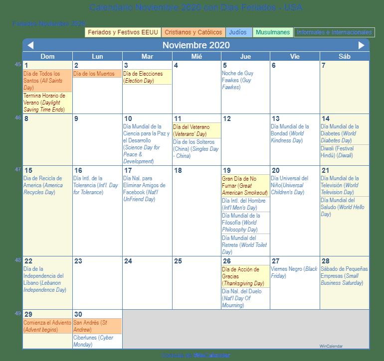 Calendario Adviento 2020.Calendario Noviembre 2020 Para Imprimir Estados Unidos