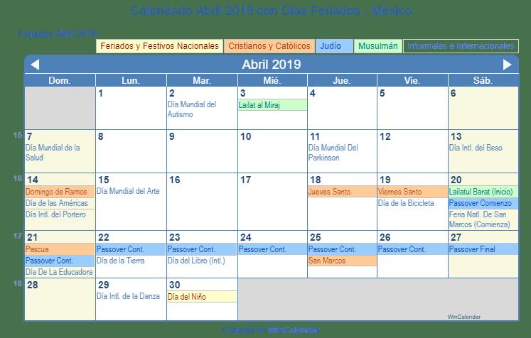 Calendario Abril 2019 Para Imprimir Mexico
