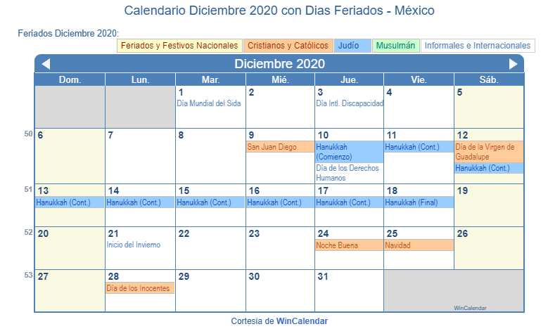 Calendario Diciembre 2020 Navideno.Calendario Diciembre 2020 Para Imprimir Mexico