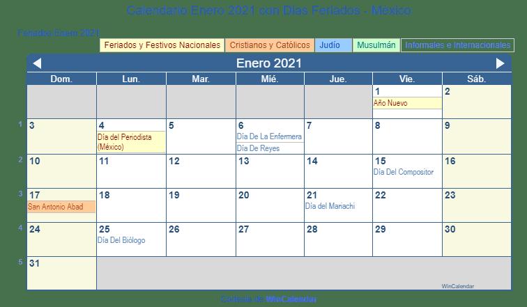 Calendario 2020 Mexico Con Dias Festivos Para Imprimir.Calendario Enero 2021 Para Imprimir Mexico