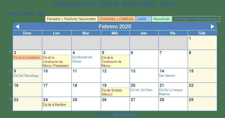 Febrero 2020 Calendario.Calendario Febrero 2020 Para Imprimir Mexico