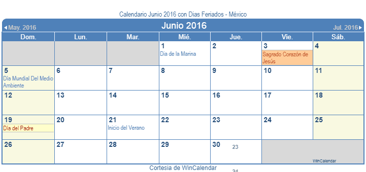 Calendario junio 2016 para imprimir m xico for Calendario junio 2016 para imprimir