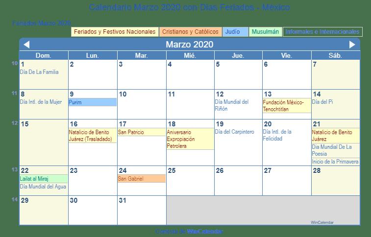 Calendario 2020 Mexico Con Dias Festivos Para Imprimir.Calendario Marzo 2020 Para Imprimir Mexico
