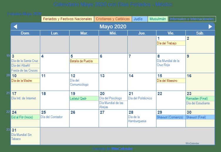 Calendario 2020 Mexico Con Dias Festivos Para Imprimir.Calendario Mayo 2020 Para Imprimir Con Dias Festivos Y