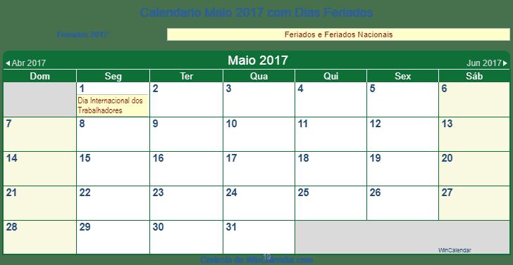 Calendario Maio 2017 Para Imprimir Mocambique
