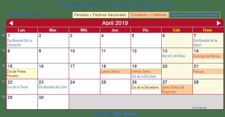 a4ba99e7f Calendario Peruano Abril 2019 en formato de imagen para imprimir.