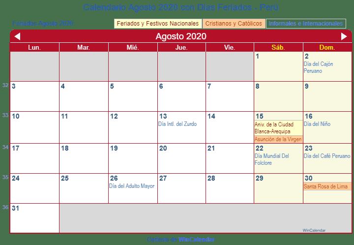 Calendario Agosto 2020.Calendario Agosto 2020 Para Imprimir Peru