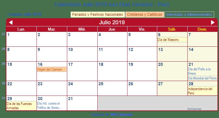 Julio Calendario.Calendario Julio 2019 Para Imprimir Peru