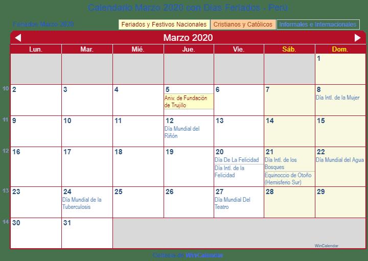 Calendario Marzo 2020.Calendario Marzo 2020 Para Imprimir Peru