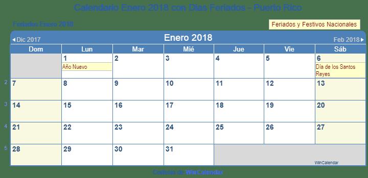 Calendario Enero 2018 Para Imprimir Puerto Rico