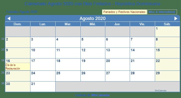 Calendario De Agosto 2020.Calendario Agosto 2020 Para Imprimir Republica Dominicana