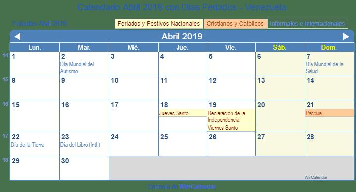 Calendario Imprimir Abril 2019.Calendario Abril 2019 Para Imprimir Venezuela