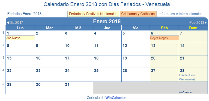 Calendario Enero 2018 para imprimir - Venezuela