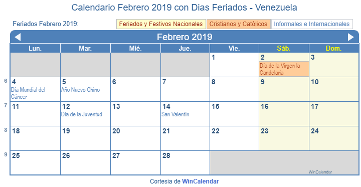 Febrero 2019 Calendario.Calendario Febrero 2019 Para Imprimir Venezuela