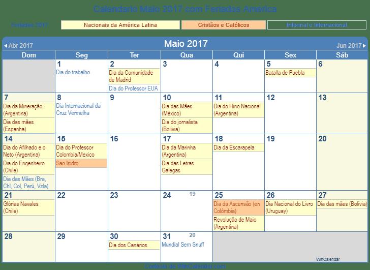 Calendario Maio 2017 Para Imprimir America