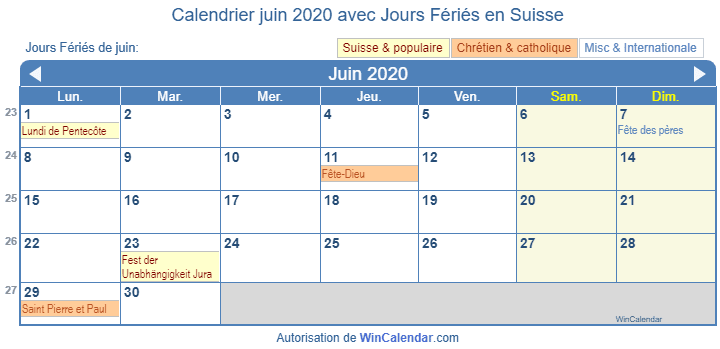 Calendrier Juin 2020.Calendrier Pour L Impression Juin 2020
