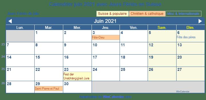 Kalender juin 2021 à imprimer - Suisse