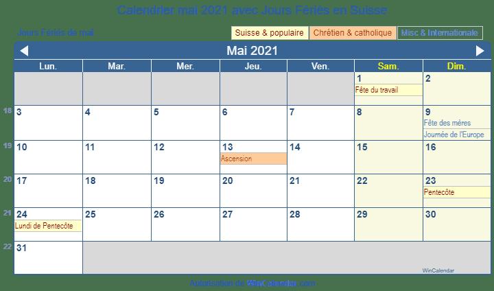 Kalender mai 2021 à imprimer   Suisse
